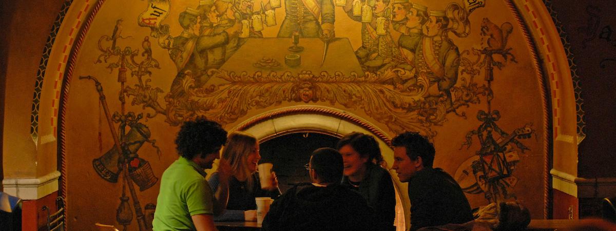 Conversation at der Memorial Union Rathskeller